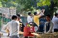 Sugarcane juice vendor extracting juice Royalty Free Stock Photo