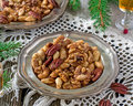 Sugared and rum glazed nuts spiced Royalty Free Stock Photo