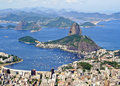 Sugarloaf mountain arial view of rio de janiero brazil from corcovado Royalty Free Stock Image