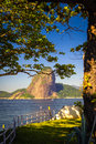 Sugarloaf mountain fort at the waterfront with in the background guanabara bay rio de janeiro brazil Stock Images