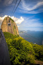 Sugarloaf mountain overhead cable car approaching guanabara bay rio de janeiro brazil Stock Photography