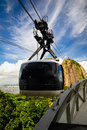 Sugarloaf mountain overhead cable car approaching guanabara bay rio de janeiro brazil Royalty Free Stock Photos