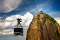 Sugarloaf mountain overhead cable car approaching guanabara bay rio de janeiro brazil Royalty Free Stock Photo