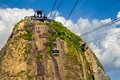 Sugarloaf mountain overhead cable car station on the top of a guanabara bay rio de janeiro brazil Royalty Free Stock Image
