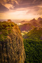 Sugarloaf mountain range at dusk guanabara bay rio de janeiro brazil Royalty Free Stock Photography