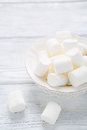 Sugary marshmallows on a bowl food Royalty Free Stock Photos