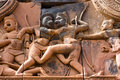 Sugriva and Valin fighting, ancient carving Royalty Free Stock Photos