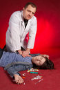 Suicide. Emergency actions - cardiac massage. Stock Photo