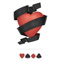 Suit of hearts playing with ribbon the tape and shadow on a white background Royalty Free Stock Photo