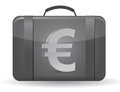 Suitcase with euro sign in front Stock Photography