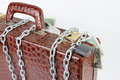 Suitcase full of money is chained with a locked padlock made crocodile leather Royalty Free Stock Image
