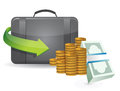 Suitcase full of money illustration design over a white background Stock Image