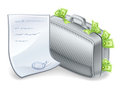 Suitcase full of money with sheet nearby. Royalty Free Stock Image