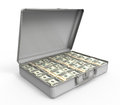 Suitcase full of money on white background d render Stock Photography
