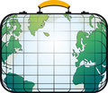 Suitcase like world map Stock Photography