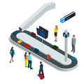 Suitcase on luggage conveyor belt in the baggage claim at airport. Flat 3d vector isometric illustration.