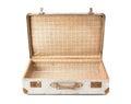 Suitcase old and rusty opening aluminium on white background Stock Photography