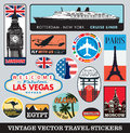 Suitcase stickers vector set a of vintage in eps format Stock Images
