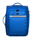 Suitcase for travel. Blue color with silver accents. Royalty Free Stock Photo