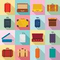 Suitcase travel luggage bag icons set, flat style
