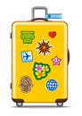 Suitcase for travel with stickers Royalty Free Stock Photo