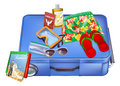 Suitcase and vacation items an illustration of a with on it ready for packing or just been unpacked includes passport sunglasses Royalty Free Stock Photography