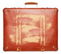 Suitcase vintage red isolated on white background Stock Photos
