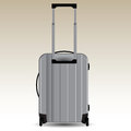Suitcase on wheels aluminum for travel vector illustration Stock Images