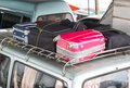 Suitcases on the car closeup view Royalty Free Stock Image