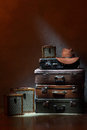 Suitcases a few and female hat Royalty Free Stock Image