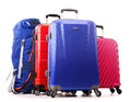 Suitcases and rucksack on white luggage consisting of large Royalty Free Stock Photos