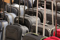 Suitcases for sale row of cheap on a brixton market Royalty Free Stock Photos