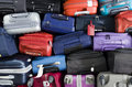 Suitcases stacked multicolor for transport one above the other Royalty Free Stock Image
