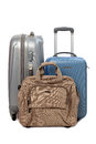 Suitcases and travel bag isolated on white background Stock Photography