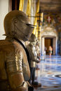 The suits of armour in the Grandmaster`s Palace. Valletta. Malta Royalty Free Stock Photo