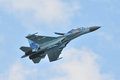 Sukhoi su ukrainian on aviation day siaf Royalty Free Stock Photo
