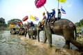 SUKHOTHAI - 2017 APRIL 7 : Sukhothai ordination parade on elephant back festival at Hadsiao Temple,Si Satchanalai from April 7 Royalty Free Stock Photo