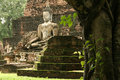 Sukhothai jungle temple ruins buddha thailand Stock Image