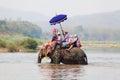 Sukhothai ordination parade on elephant back festival at Hadsiao Temple Royalty Free Stock Photo