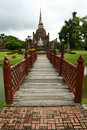 Sukhothai temple bridge thailand Royalty Free Stock Images