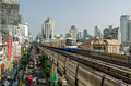 Sukhumvit road bangkok thailand october skytrain travelling over the congested in central on october the commercial street Royalty Free Stock Image