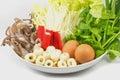 Sukiyaki, mixed vegetables,combinations