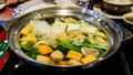 Sukiyaki pot mixed with all kind of vegetable and meat Stock Photography