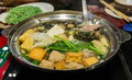 Sukiyaki pot mixed with all kind of vegetable and meat Royalty Free Stock Photography