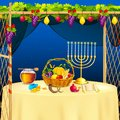 Sukkah for celebrating sukkot vector illustration of decorated Stock Images