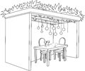 Sukkah for sukkot with table coloring page a vector illustration of a decorated ornaments and a glasses of wine and fruits the Royalty Free Stock Images