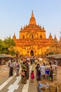 Sulamani temple bagan myanmar february main entrance of the at sunset with lot of tourists sightseeing on february in bagan Stock Image