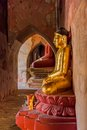 Sulamani temple old renovated golden buddha statue inside of in bagan myanmar Royalty Free Stock Image