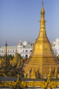 Sule paya elevated view of pagoda in yangon with close up to the stupa Royalty Free Stock Photography