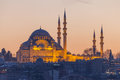 Suleymaniye mosque in the evening, Istanbul Royalty Free Stock Photo